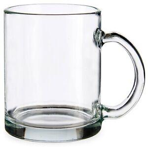 Set of 6 Glass Mugs Clear Glass Coffee Mugs 285ml Capacity Large Mugs