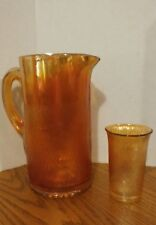 Depression Carnival Glass Pitcher Glasses Marigold Tree Bark Jeannette Iridescen