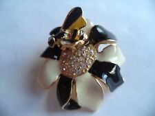 Vintage Signed Sphinx Small Bumble Bee on Black and White Flower  Brooch/Pin