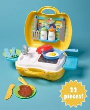 22-Pc KITCHEN Carry Along Set Travel Toy Pretend Playset Car Pack Case Go