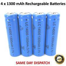 NUOVO 4 x BATTERIE RICARICABILI 1300 mAh LC 14500 3.7v potente batteria Li-ion UK
