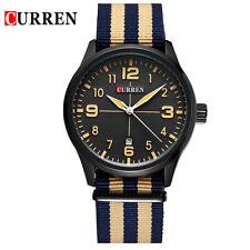 CURREN Men's Black Dial Quartz Waches Canvas Casual Date Analog Wristwatch Gift