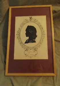 """Vintage Hand Cut Black Paper 4.5"""" Silhouette by Ballow Young Girl on Oval Border"""