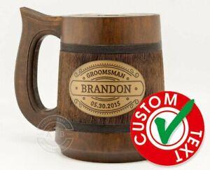 Personalized Wooden Mug Groomsmen gifts Wedding gift ideas Best man Beer stein