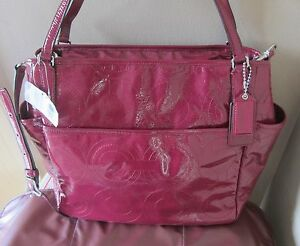 Coach Laptop Business Baby Diaper Pink Leather Crossbody Shoulder Bag Purse Tote
