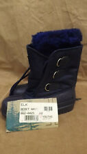"NOS Vtg Canada Handcrafted ""ELK"" Kaufman SOREL Navy Blue WInter Boots Sz 2 Youth"