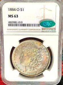 1884-O Morgan Silver Dollar NGC MS63 CAC :  Cotton Candy Rainbow Toning