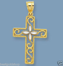 Diamond Cut Fancy Elegant Cross Charm Pendant Real Solid 14K Yellow White Gold
