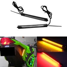 2pcs Switchback R/A LED Fork Rear Turn Signal Brake Strip Lights For Motorcycle