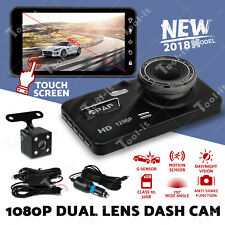 "2019 UPGRADE Dash Cam Dual Camera Reversing Recorder Car DVR Video 4"" LCD 32GB"