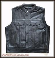 Gilet Jacket en Cuir de vachette Col Mao - Bikers style sons of anarchy - custom