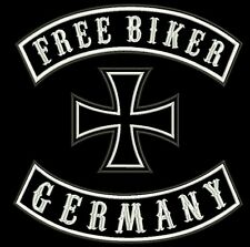 BACK-PATCH Free Biker, Germany, Iron Cross, 3-TEILIG *made in Germany*