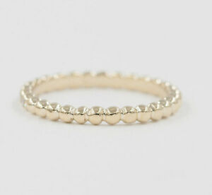 2mm Beaded Ring. Simple Stackable Wedding Band. 14k Solid Gold Minimalist Ring