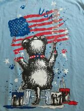 New Scruffy Dog Painting Tee Kitchy vtg 90s/2000s Retro American Flag USA Large