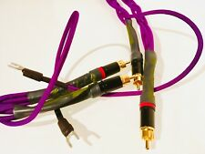 Custom Length Audiophile Turntable Phono RCA Cables w/Ground Wire Quad-Braid