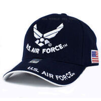 US Air Force Hat Wings Logo Navy Blue w/ Flag Patch Side Adjustable Cap