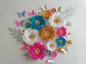set of 20 Paper Flowers  for Wall Décor, Backdrops,Weddings decoration