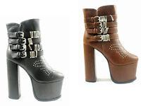 NEW LADIES WOMEN BLACK & TAN ANKLE BUCKLES HIGH PLATFORM BLOCK HEEL BOOT SIZ 3-8