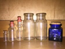 6 Vintage Medicine Glass Drug Bottles Apothecary Stoppers Clear Cobalt Pharmacy