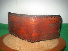VTG Collectible Hand Made Tooled Leather Western Running Horses Wallet Billfold