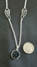 Silver Tone Wing and black druzy necklace 20 inch