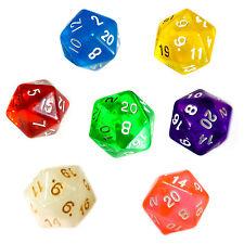 10 Stück 20Seitige Würfel (1-20) Farbmix-Transparente D20/W20/Knobel/Spielen