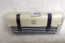 NEW Navy Nautical Make Up Pencil Case Beige Stripe Zip  PU Leather Canvas