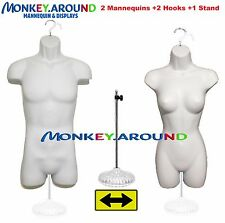 LOT OF 2 LONG TORSO MANNEQUIN DRESS BODY FORM, WHITE MALE FEMALE +1 STAND 2 HOOK