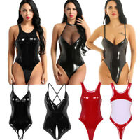 Women Sexy Lingerie Shiny Leather High Cut Teddy Bodysuit Backless Jumpsuit Tops