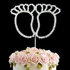 Diamante Rhinestone Gem Cake Pick Topper Birthdays Anniversary Silver Baby Feet