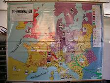 Schulwandkarte schöne alte Europa Reformation Martin Luther 206x165cm ~1955 top
