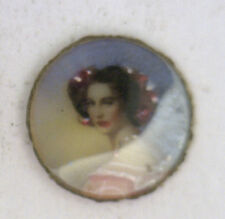 Antique Round MINI Painted Photograph Locket Insert Pendant & Curved Glass #ZZ50