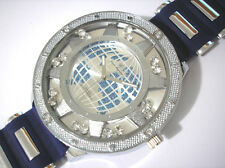 Iced Out Bling Bling Big Case Rubber Band Globe Dial Men's Watch Blue Item 1026