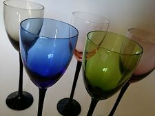 5 GLASSES WINE CHAMPAGNE for Mid Century danish MODERN BLUE GREEN PINK GLASS