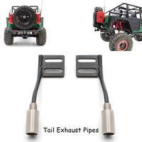 2pc Metal Tail Exhaust Pipes for 1/10 Axial SCX10 SCX10 II RC Car Upgrade Kit MV