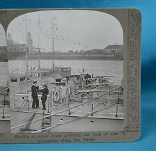 WW1 Stereoview Motor Boats Guarding Communication On The Rhine Realistic Travels
