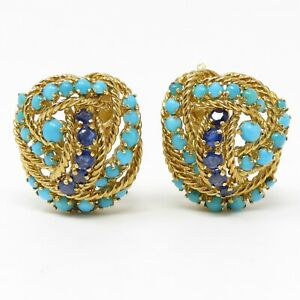 NYJEWEL Tiffany & Co 18k Yellow Gold Sapphire Turquoise Clip On Earrings