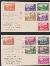 1947 Norfolk Island Ball Bay Definitives (12) FDC x 2 Covers