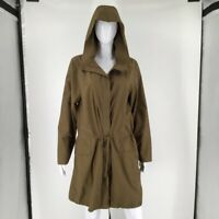 Eileen Fisher Womens Jacket Green Zip Up Hooded Drawstring Waist Slit Pockets L