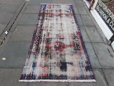 Shabby Chic Worn Vintage Hand Made Traditional Blue Wool Large Rug 266x115cm