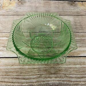 Vintage Art Deco Green Pressed Depression Glass Fruit/ Salad/ Jelly Bowl Large