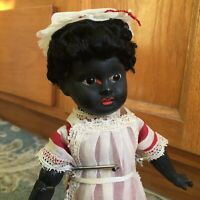 "SWEET! Exotic AM sonneberg Type Antique Ebony Black German Doll Bisque 11 1/2"""