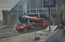 Large Red Steam Engine Leaving the Station Oil on Canvas Signed Adrian Neal