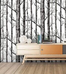 """3 Rolls HoakHome 97012 Peel Stick Wallpaper Birch Tree Wood Grain 17.7"""" X 9.8ft"""