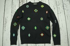 Used KENZO x H&M Black Embroidered Wool Mens Jumper Sweater SMALL S
