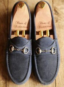 Men's Gucci Blue Suede Driving Shoes Silver Bit Loafers UK 7.5 EU 8.5 US 41.5