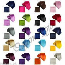 "Men's Satin Solid Skinny Slim 2.5"" Necktie and Pocket Square Hankie Set Wedding"