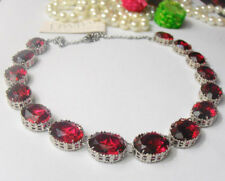 Anna Wintour Collet Ruby Red Swarovski Crystal Necklace Art Deco Georgian Oval