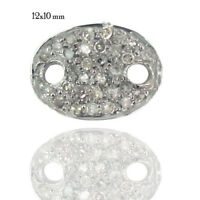 Genuine Pave Diamond Connector Finding Handmade 925 Sterling Silver Fine Jewelry