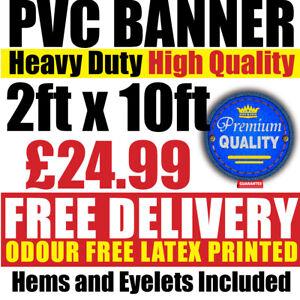 PVC Banners Outdoor Vinyl 2ft x 10ft Advertising Sign Display Custom Printed